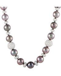 Heritage Tiffany & Co. - Tiffany & Co. Platinum 10.20 Ct. Tw. Diamond & 10.5-11.5mm Tahitian Pearl Necklace - Lyst