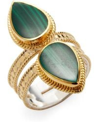 Anna Beck Jewelry Malachite Double Teardrop Cocktail Ring