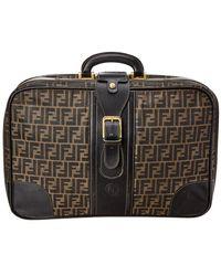 Fendi Brown Zucca Canvas & Black Leather Medium Suitcase