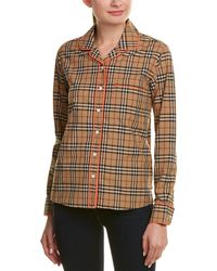 Burberry - Contrast Piping Vintage Check Pajama Top - Lyst