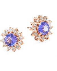Effy - Diamond, Tanzanite & 14k Rose Gold Flower Stud Earrings - Lyst