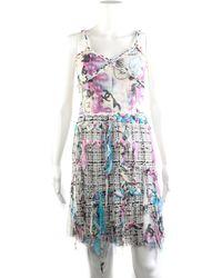 Chanel - Multicolor Tweed Shift Dress, Size Fr 38 - Lyst
