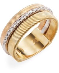 Marco Bicego - 18k Yellow Gold 0.26 Tcw Diamond Etched Goa Ring - Lyst