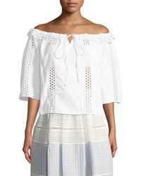 Temperley London - Natura Lace Off-the-shoulder Shirt - Lyst