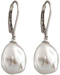 Splendid - Silver Plated 11-12mm Freshwater Pearl Drop Earrings - Lyst