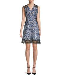 Elie Tahari - Embroidered Panelled Sleeveless Dress - Lyst