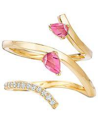 Paige Novick - 18k 0.10 Ct. Tw. Diamond & Pink Tourmaline Ring - Lyst