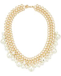 Kenneth Jay Lane | Gold/light Cultura Pearl Ends Necklace | Lyst