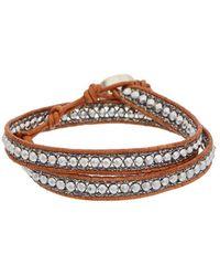 Chan Luu - Silver Hematine Leather Wrap Bracelet - Lyst