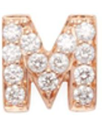 "Nephora | 14k Rose Gold & 0.10 Total Ct. Diamond ""m"" Initial Stud Earring 