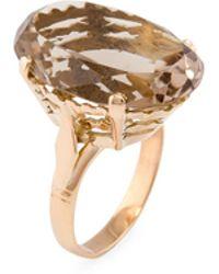 Estate Fine Jewelry - Estate 10k Yellow Gold & Smoky Quartz Large Cocktail Ring - Lyst