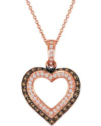 Le Vian - Chocolatier Diamond And 14k Strawberry Gold Heart Pendant Necklace - Lyst