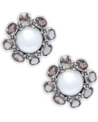 Stephen Dweck - White Mabé Pearl, Smoky Topaz & Sterling Silver Stud Earrings - Lyst