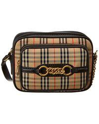 97b04c77 Lyst - Burberry Mini Vintage Check Crossbody Bag in Black