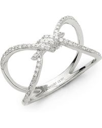 KC Designs | Love Knot 14k White Diamond And 14k Gold Ring | Lyst