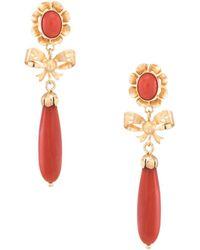 Estate Fine Jewelry - Meditteranean Coral Pendant Drop Earrings - Lyst