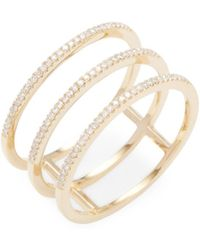 CR By Casa Reale - 14k Gold & Pave Diamond Triple Bar Ring - Lyst