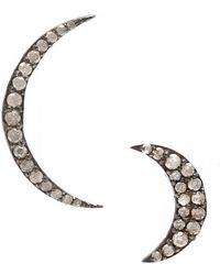 Adornia - Fine Jewellery Silver Celestial Moon Studs - Lyst