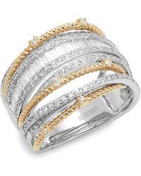 Effy - 14k White & Yellow Gold Diamond Multi-band Ring - Lyst