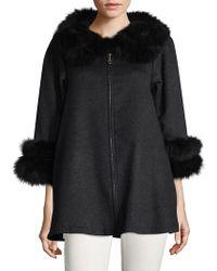 La Fiorentina - Fox Fur-trimmed Wool Swing Coat - Lyst