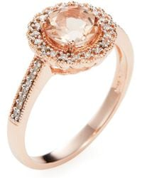 Rina Limor - Morganite & Diamond Halo Ring - Lyst