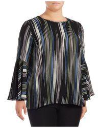 Vince Camuto - Plus Stripe-print Flounce-sleeve Blouse - Lyst