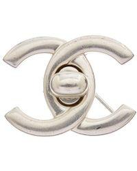 Chanel - Silver-tone Medium Cc Turnlock Pin - Lyst