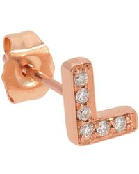 Nephora - 14k Rose Gold Diamond Letter L Initial Studs - Lyst