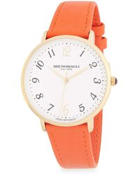 Bruno Magli - Stainless Steel And Leather-strap Watch - Lyst