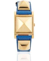 Hermès - Vintage Blue/gold Courchevel Medor Watch - Lyst