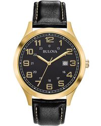 Bulova - Dress Standard Stainless Steel & Leather-strap Analog Watch - Lyst
