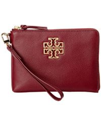 7a474babbe71 Tory Burch - Britten Large Leather Zip Pouch Wristlet - Lyst