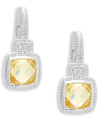 Judith Ripka - White Sapphire And Canary Crystals Cushion Drop Earrings - Lyst