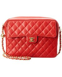 a35066c8043 Chanel - Red Quilted Caviar Leather Large Pocket Camera Bag - Lyst