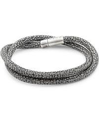 Tateossian - Silver Pop Braided Leather Bracelet - Lyst
