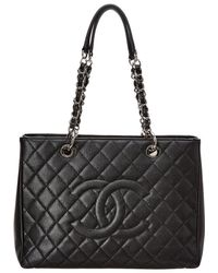Chanel - Black Caviar Leather Grand Shopping Tote - Lyst