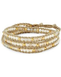 Chan Luu - Goldtone Beaded Leather Bracelet - Lyst