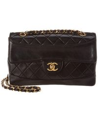 Chanel - Black Quilted Lambskin Leather Border Flap Bag - Lyst