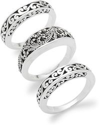 Lois Hill - Trio Of Engraved Sterling Silver Rings - Lyst