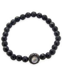 Bavna Black Spinel Stretch Bracelet With Sterling Silver Diamond And Moonstone Bead