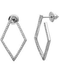 Adornia Silver Crystal Wrap Around Geometric Hoops