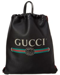 Gucci - Black Leather Drawstring Backpack Bag - Lyst