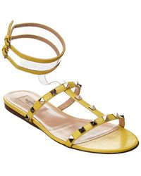 2a9a7b8750445d Lyst - Valentino Moonwalk Studded Leather Gladiator Sandal in Pink