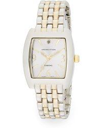 Adrienne Vittadini - Diamond Two-tone Bracelet Watch - Lyst