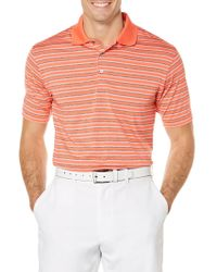 PGA TOUR - Golf Performance Heather Stripe Polo Shirt - Lyst