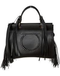 Ferragamo Gancini Double Handle Leather Tote - Black