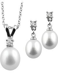 Splendid - Splendid Pearl & Czs Silver 7-8mm Freshwater Pearl & Cz Earrings & Necklace Set - Lyst