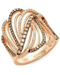 Effy - Diamond, Espresso Diamond & 14k Rose Gold Swirl Ring - Lyst