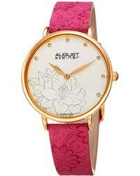 August Steiner - Women's Leather Diamond Watch - Lyst