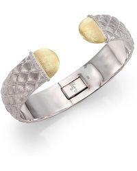 Jude Frances - Virginia Diamond & Sterling Silver Quilted Cuff Bracelet - Lyst